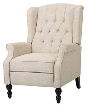 GDF Studio Elizabeth Tufted Fabric Recliner Vintage Reclining Reading Armchair Light Beige 0 300x360