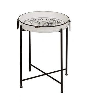 Glitzhome Rustic End Table Farmhouse Style Metal Enamel Decor Serving Table 2441 H 0 300x360