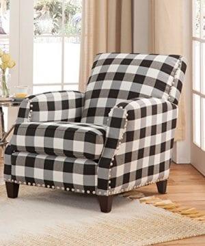 Grafton 8025 01 00 Holland Plaid Chair With Nailheads One Size BlackWhite 0 300x360