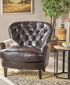 Great Deal Furniture Alfred Tufted Brown Bonded Leather Club Chair Contemporary Lounge Accent Chair 0 300x360