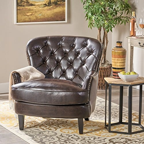 Great Deal Furniture Alfred Tufted Brown Bonded Leather