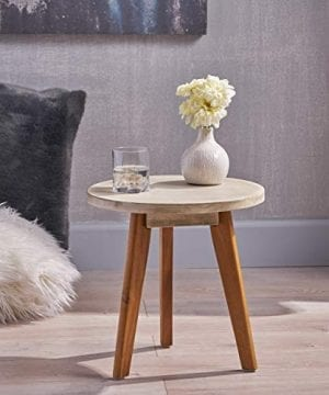 Great Deal Furniture Candance Outdoor Side Table Farmhouse Style Light Gray Acacia Wood Frame 0 0 300x360