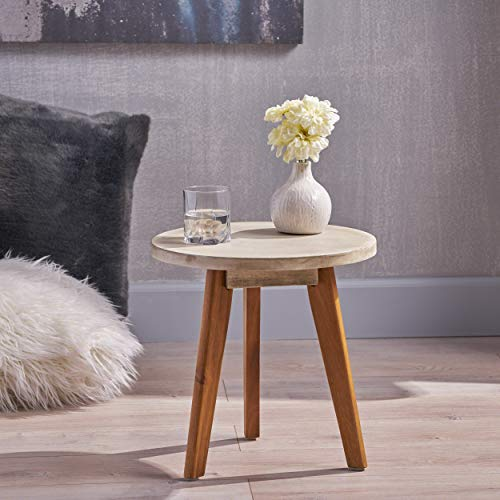 Great Deal Furniture Candance Outdoor Side Table Farmhouse Style Light Gray Acacia Wood Frame 0 0