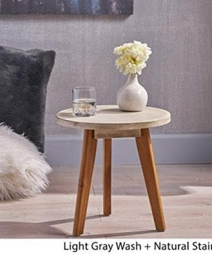 Great Deal Furniture Candance Outdoor Side Table Farmhouse Style Light Gray Acacia Wood Frame 0 1 300x360