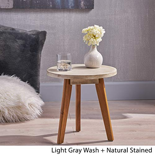 Great Deal Furniture Candance Outdoor Side Table Farmhouse Style Light Gray Acacia Wood Frame 0 1
