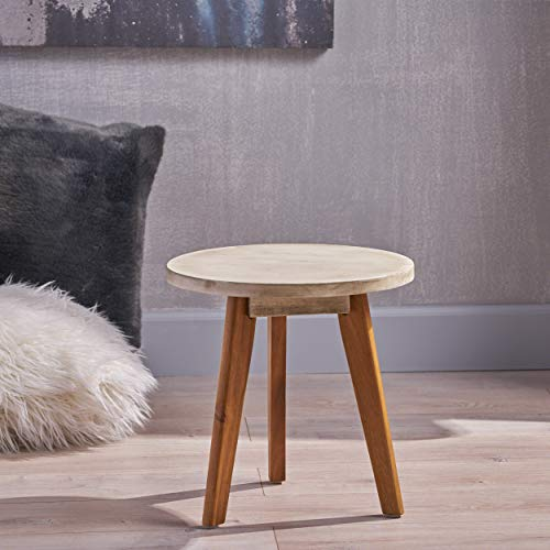 Great Deal Furniture Candance Outdoor Side Table Farmhouse Style Light Gray Acacia Wood Frame 0 2