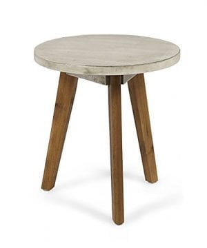Great Deal Furniture Candance Outdoor Side Table Farmhouse Style Light Gray Acacia Wood Frame 0 300x360