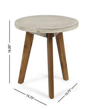 Great Deal Furniture Candance Outdoor Side Table Farmhouse Style Light Gray Acacia Wood Frame 0 5 300x360