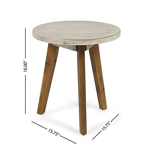 Great Deal Furniture Candance Outdoor Side Table Farmhouse Style Light Gray Acacia Wood Frame 0 5