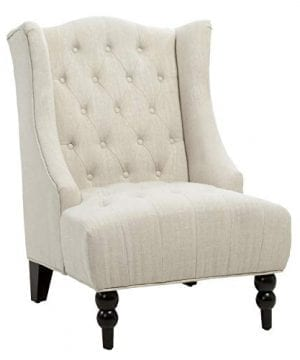 Great Deal Furniture Clarice Tall Wingback Tufted Fabric Accent Chair Vintage Club Seat For Living Room Light Beige 0 300x360