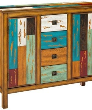 Great Deal Furniture Delaney Antique Distressed Wood Storage Cabinet In Multicolor 0 300x360