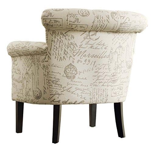 Super Homelegance Barlowe Vintage Print Fabric Accent Chair Beige Theyellowbook Wood Chair Design Ideas Theyellowbookinfo