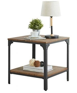 Homissue 217Height Industrial Square Sofa Side Table Metal Frame Accent End Table With Storage Shelf For Living Room Office Brown Finish 0 300x360