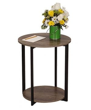 Household Essentials 8080 1 Wooden Side End Table With Storage Shelf Ashwood 0 1 300x360