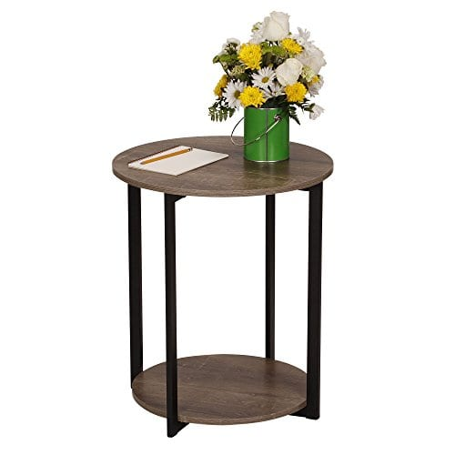 Household Essentials 8080 1 Wooden Side End Table With Storage Shelf Ashwood 0 1