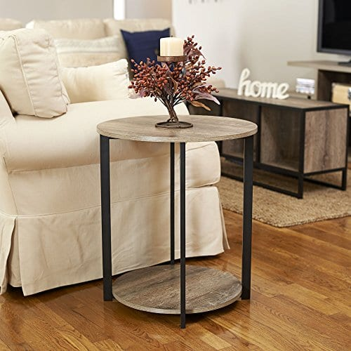 Household Essentials 8080 1 Wooden Side End Table With Storage Shelf Ashwood 0 2