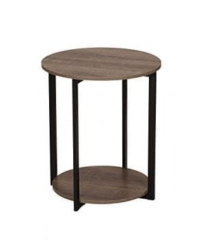 Household Essentials 8080 1 Wooden Side End Table With Storage Shelf Ashwood 0 300x360