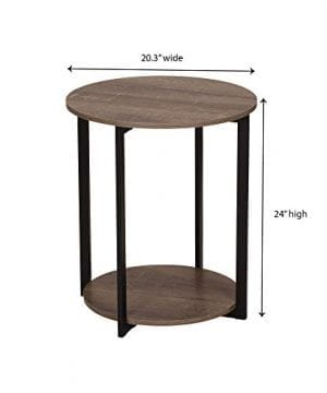 Household Essentials 8080 1 Wooden Side End Table With Storage Shelf Ashwood 0 5 300x360