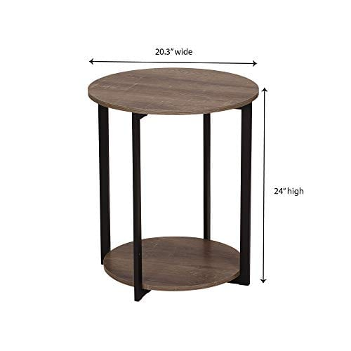 Household Essentials 8080 1 Wooden Side End Table With Storage Shelf Ashwood 0 5