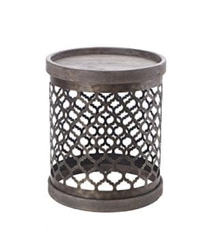 Intelligent Design Cirque Accent Tables Metal Side Table Grey Drum Design Modern Rustic Style End Tables 1 Piece Metal Round Small Tables For Living Room 0 300x360