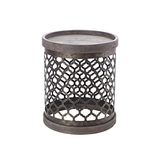 Intelligent Design Cirque Accent Tables Metal Side Table Grey Drum Design Modern Rustic Style End Tables 1 Piece Metal Round Small Tables For Living Room 0