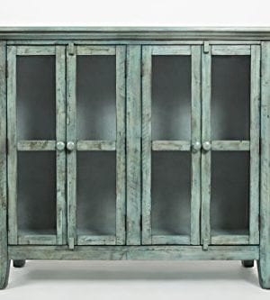 Jofran 1615 48 Rustic Shores Accent Cabinet 48W X 15D X 42H Vintage Blue Finish Set Of 1 0 300x333