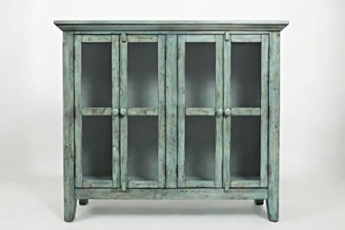 Jofran 1615 48 Rustic Shores Accent Cabinet 48W X 15D X 42H Vintage Blue Finish Set Of 1 0