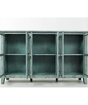 Jofran 1615 70 Rustic Shores Accent Cabinet 70W X 15D X 42H Vintage Blue Finish Set Of 1 0 1 300x360