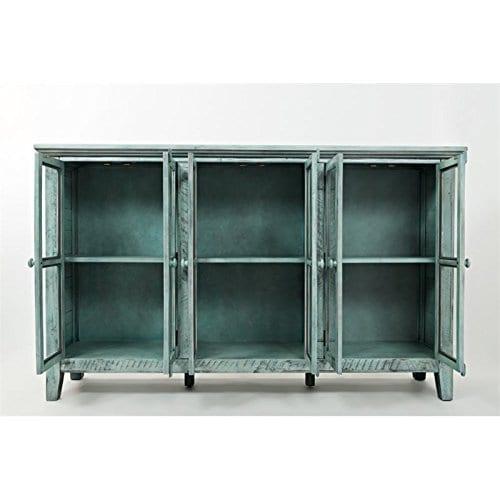 Jofran 1615 70 Rustic Shores Accent Cabinet 70W X 15D X 42H Vintage Blue Finish Set Of 1 0 1