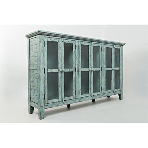 Jofran 1615 70 Rustic Shores Accent Cabinet 70W X 15D X 42H Vintage Blue Finish Set Of 1 0