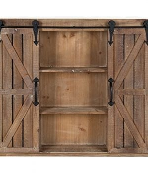 Kate And Laurel Cates Wood Wall Storage Cabinet With Two Sliding Barn Doors Rustic Brown 0 300x360