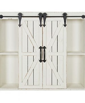 Kate And Laurel Cates Wood Wall Storage Cabinet With Two Sliding Barn Doors Rustic White 0 0 300x360