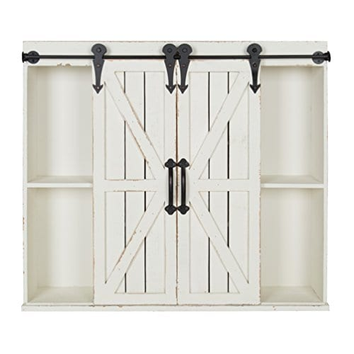 Kate And Laurel Cates Wood Wall Storage Cabinet With Two Sliding Barn Doors Rustic White 0 0