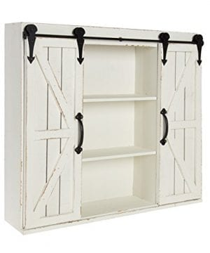 Kate And Laurel Cates Wood Wall Storage Cabinet With Two Sliding Barn Doors Rustic White 0 1 300x360