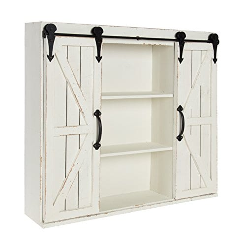 Kate And Laurel Cates Wood Wall Storage Cabinet With Two Sliding Barn Doors Rustic White 0 1