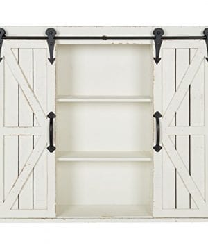 Kate And Laurel Cates Wood Wall Storage Cabinet With Two Sliding Barn Doors Rustic White 0 300x360