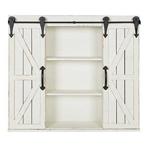 Kate And Laurel Cates Wood Wall Storage Cabinet With Two Sliding Barn Doors Rustic White 0