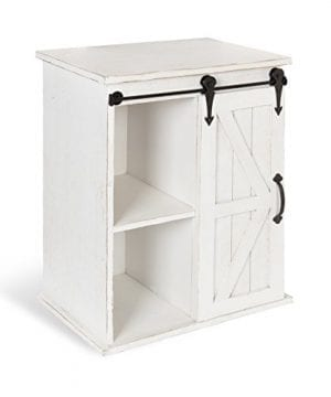 Kate And Laurel Cates Wooden Freestanding Storage Cabinet Side Accent Table With Sliding Barn Door Antique White 0 300x360