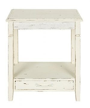 Kate And Laurel Idabelle Wood Side Table With Drawer Farmhouse White 0 0 300x360
