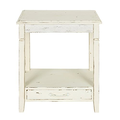 Kate And Laurel Idabelle Wood Side Table With Drawer Farmhouse White 0 0