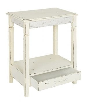 Kate And Laurel Idabelle Wood Side Table With Drawer Farmhouse White 0 1 300x360