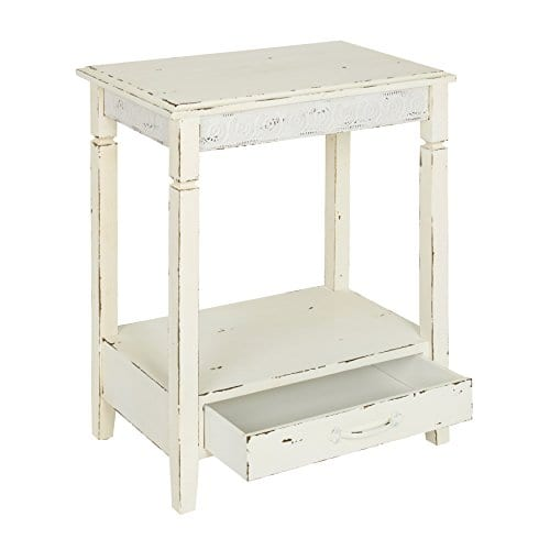 Kate And Laurel Idabelle Wood Side Table With Drawer Farmhouse White 0 1