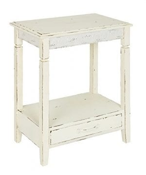 Kate And Laurel Idabelle Wood Side Table With Drawer Farmhouse White 0 300x360