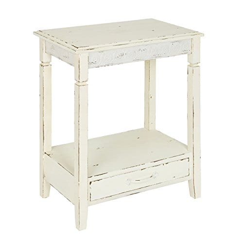 Kate And Laurel Idabelle Wood Side Table With Drawer Farmhouse White 0