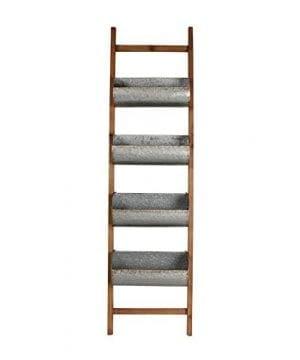 Kate And Laurel Pothos Wood And Metal Leaner Storage Bin Ladder Rustic Brown 0 300x360
