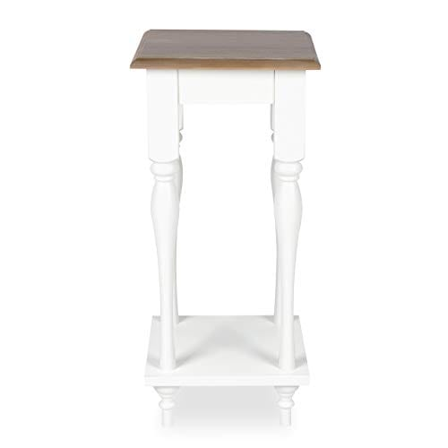 Kate And Laurel Sophia Rustic Wood Top Plant Stand End Table With Shelf White 0 0