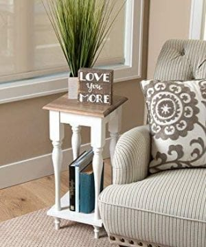Kate And Laurel Sophia Rustic Wood Top Plant Stand End Table With Shelf White 0 2 300x360