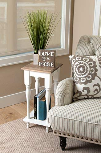 Kate And Laurel Sophia Rustic Wood Top Plant Stand End Table With Shelf White 0 2