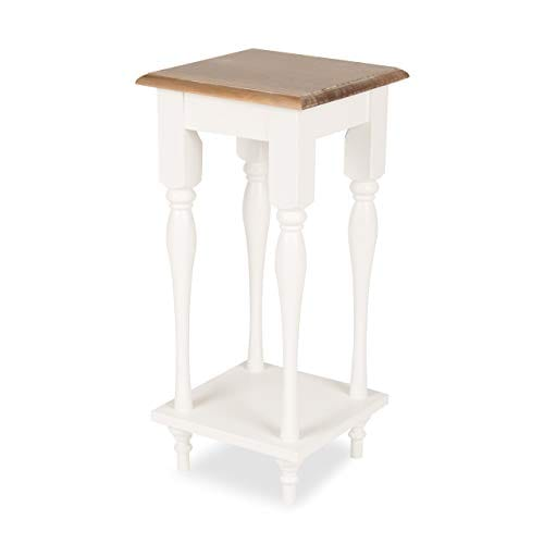 Kate And Laurel Sophia Rustic Wood Top Plant Stand End Table With Shelf White 0