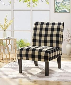 Kendal Traditional Upholstered Farmhouse Accent Chair Black Checkerboard 0 300x360